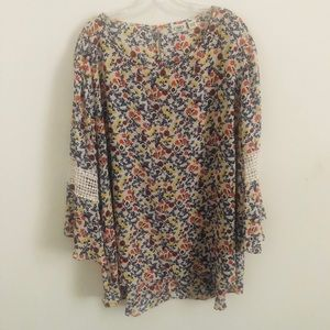 Cato floral print 3/4 sleeve hi/low blouse 22/24